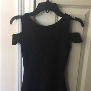 Black cold shoulder skater skirt dress